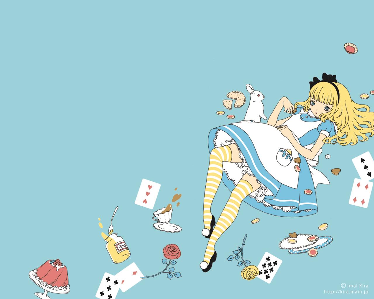 alice_(wonderland) alice_in_wonderland blonde_hair blue blue_eyes bunny dress food lolita_fashion