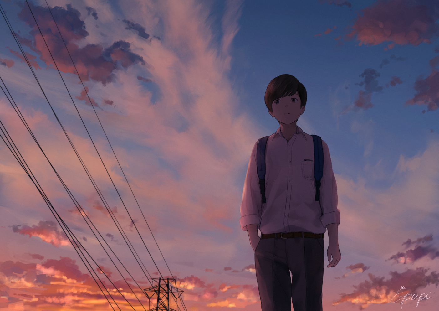 all_male brown_hair clouds male original papi_(papiron100) school_uniform short_hair signed sky sunset