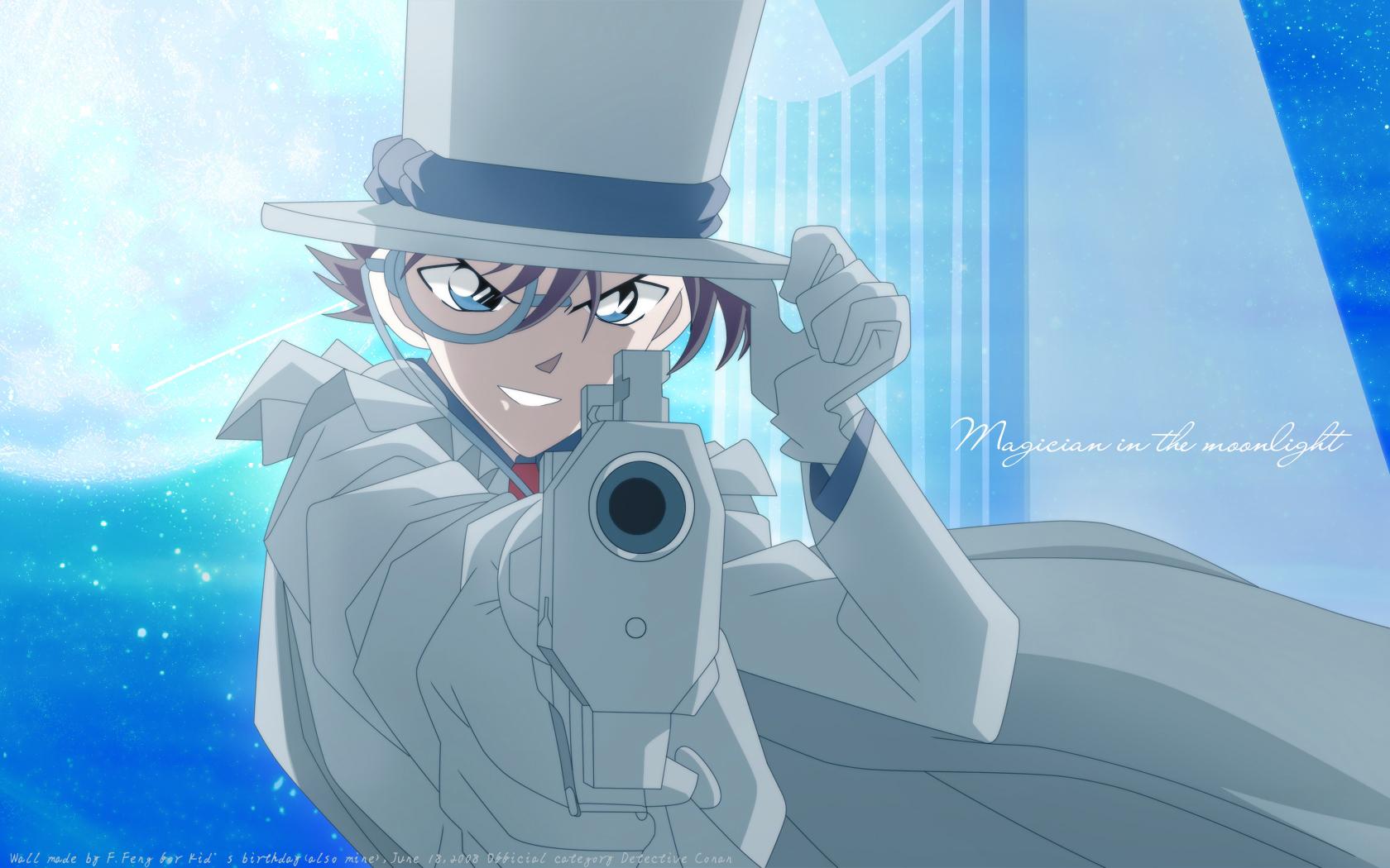 all_male blue_eyes brown_hair cape detective_conan gloves gun hat kaitou_kid male moon short_hair sky stars suit weapon