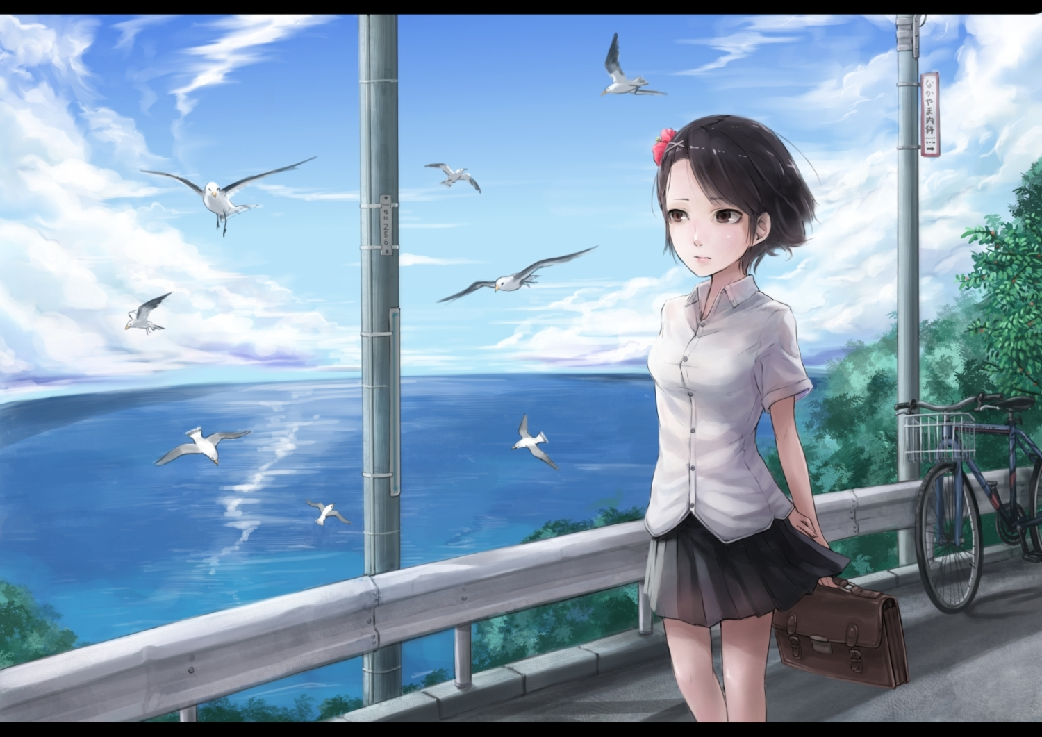 animal bicycle bird lif_(lif-ppp) original seifuku water