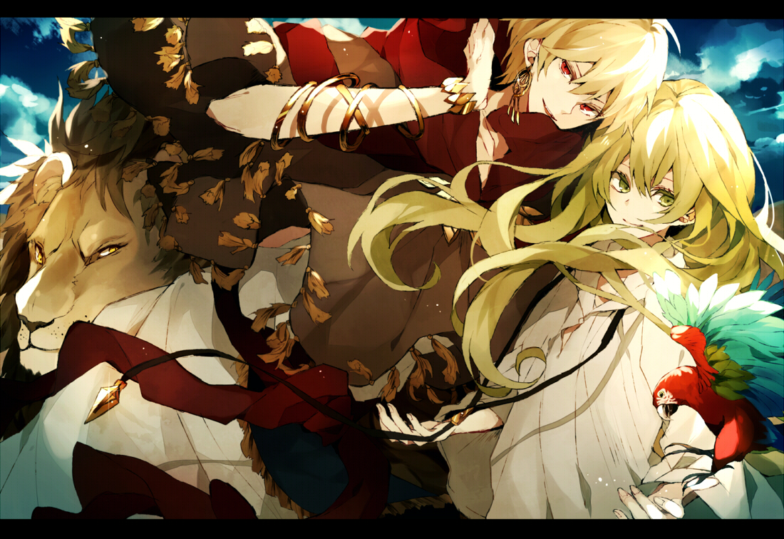 all_male animal bird blonde_hair enkidu fate_(series) fate/stay_night fate/strange_fake gilgamesh green_eyes green_hair lion male red_eyes satsuki_(miicat) wristwear yellow_eyes
