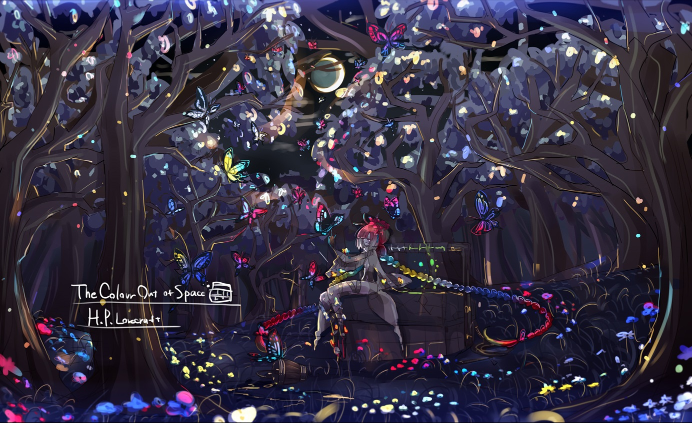 anthropomorphism braids butterfly enothela forest grass long_hair moon original polychromatic ribbons tree