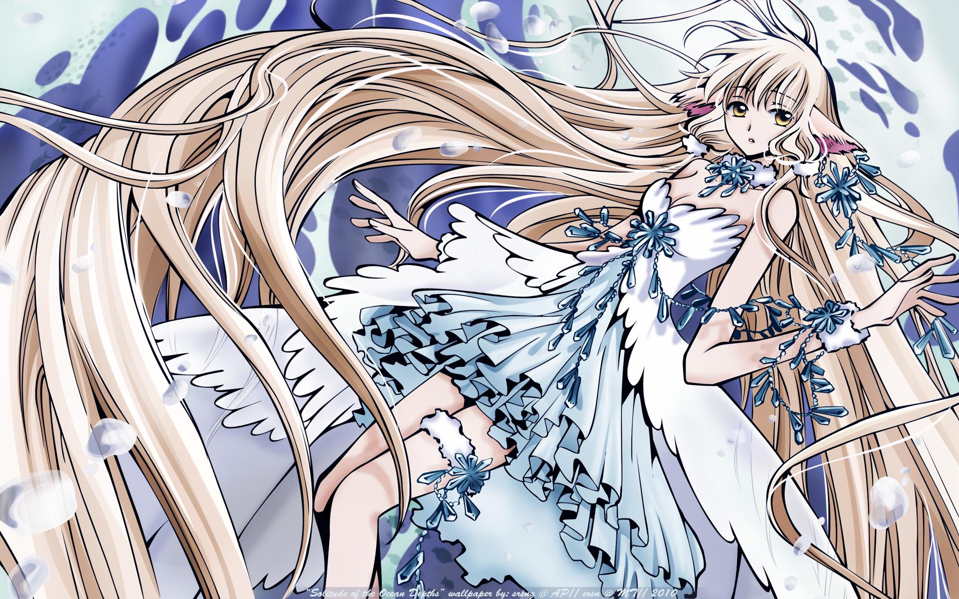 blonde_hair brown_eyes chii chobits clamp dress long_hair tsubasa_reservoir_chronicle water