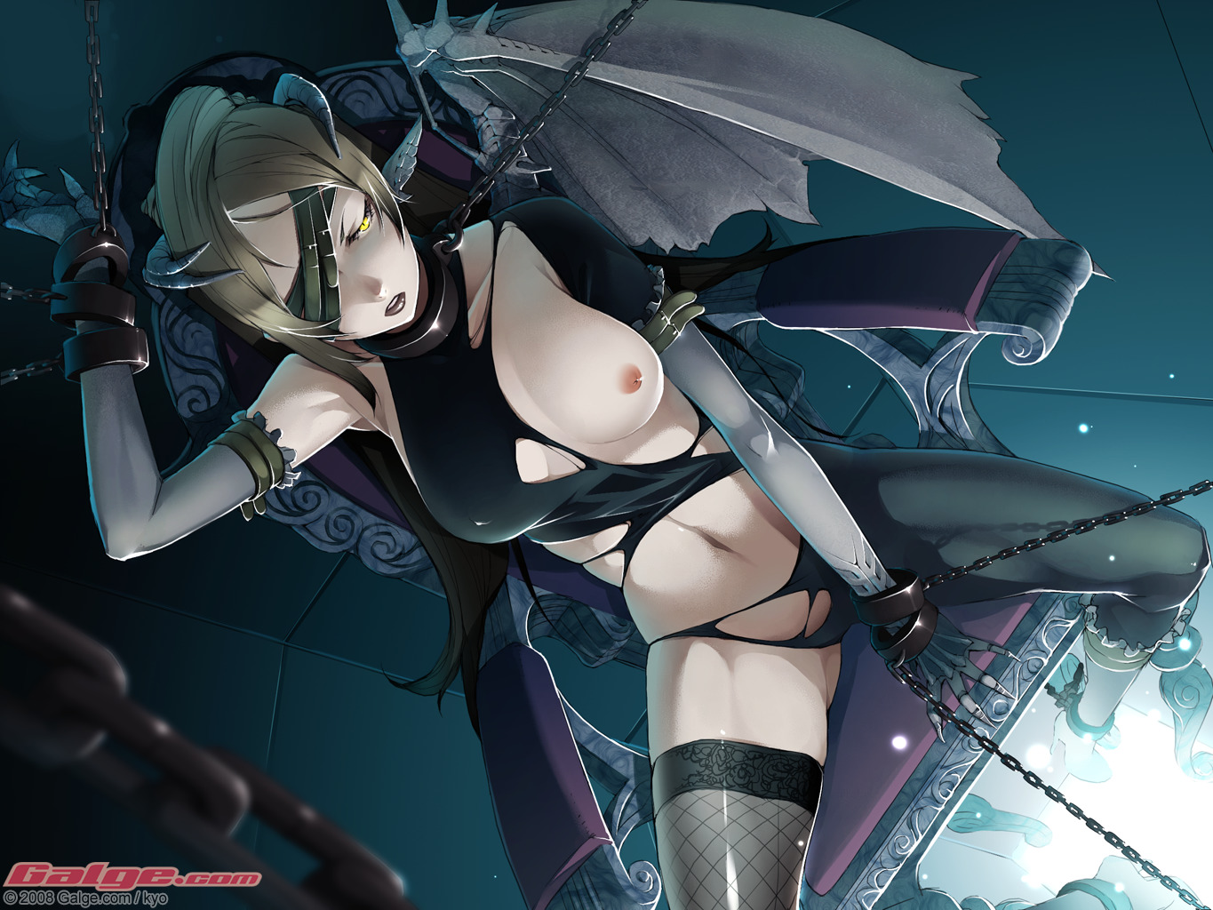 blonde_hair breasts chain demon galge.com gloves horns kyo_(kuroichigo) nipples thighhighs torn_clothes wings yellow_eyes