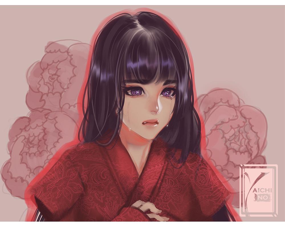 black_hair long_hair original purple_eyes tagme_(artist) tears watermark