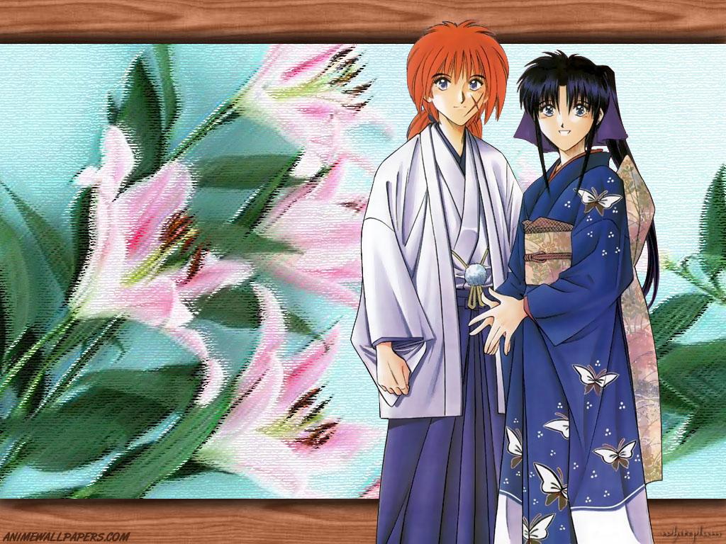 flowers himura_kenshin japanese_clothes kamiya_kaoru male rurouni_kenshin scar