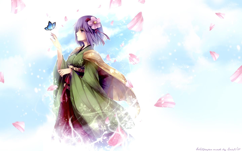 butterfly flowers hieda_no_akyuu japanese_clothes kimono petals purple_eyes purple_hair short_hair touhou watermark
