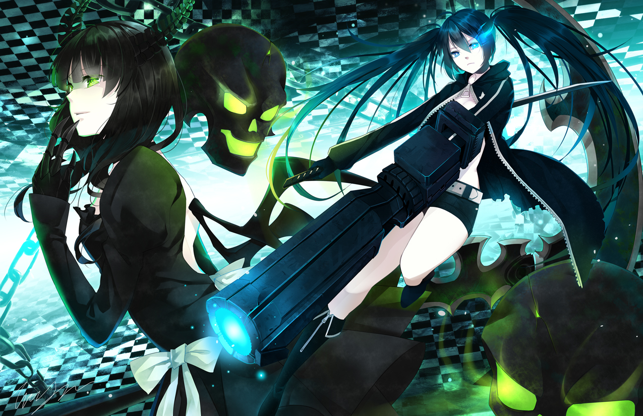 black_hair black_rock_shooter blue_eyes bow dress green_eyes gun horns katana kuroi_mato long_hair sword takanashi_yomi tooaya weapon wings