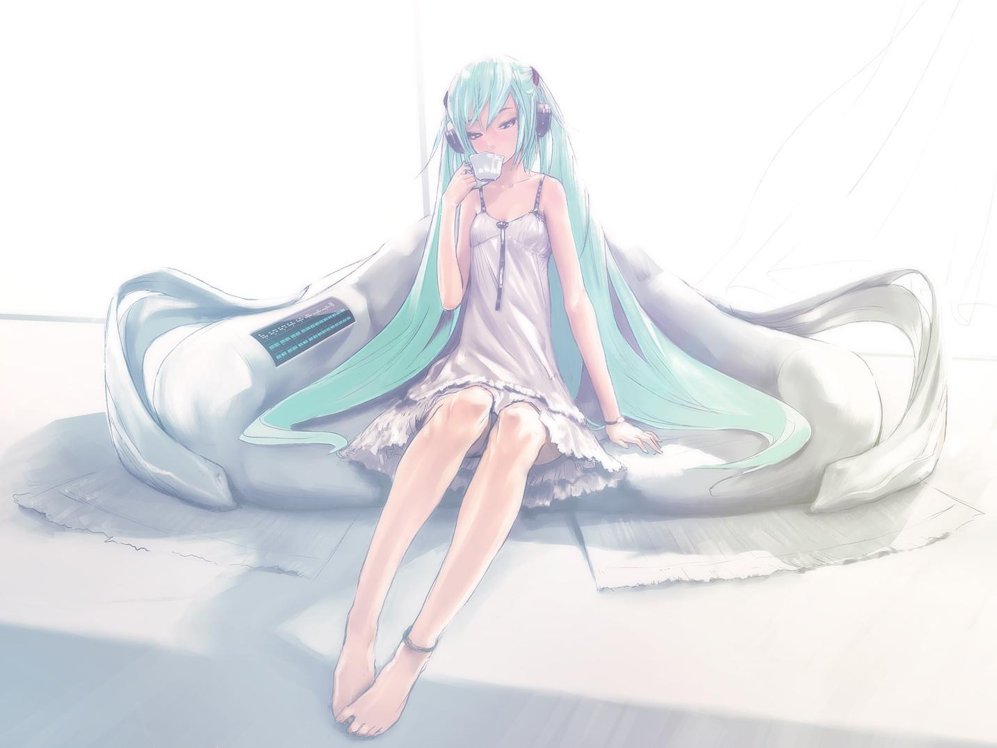 dress hatsune_miku headphones last_night_good_night_(vocaloid) redjuice vocaloid