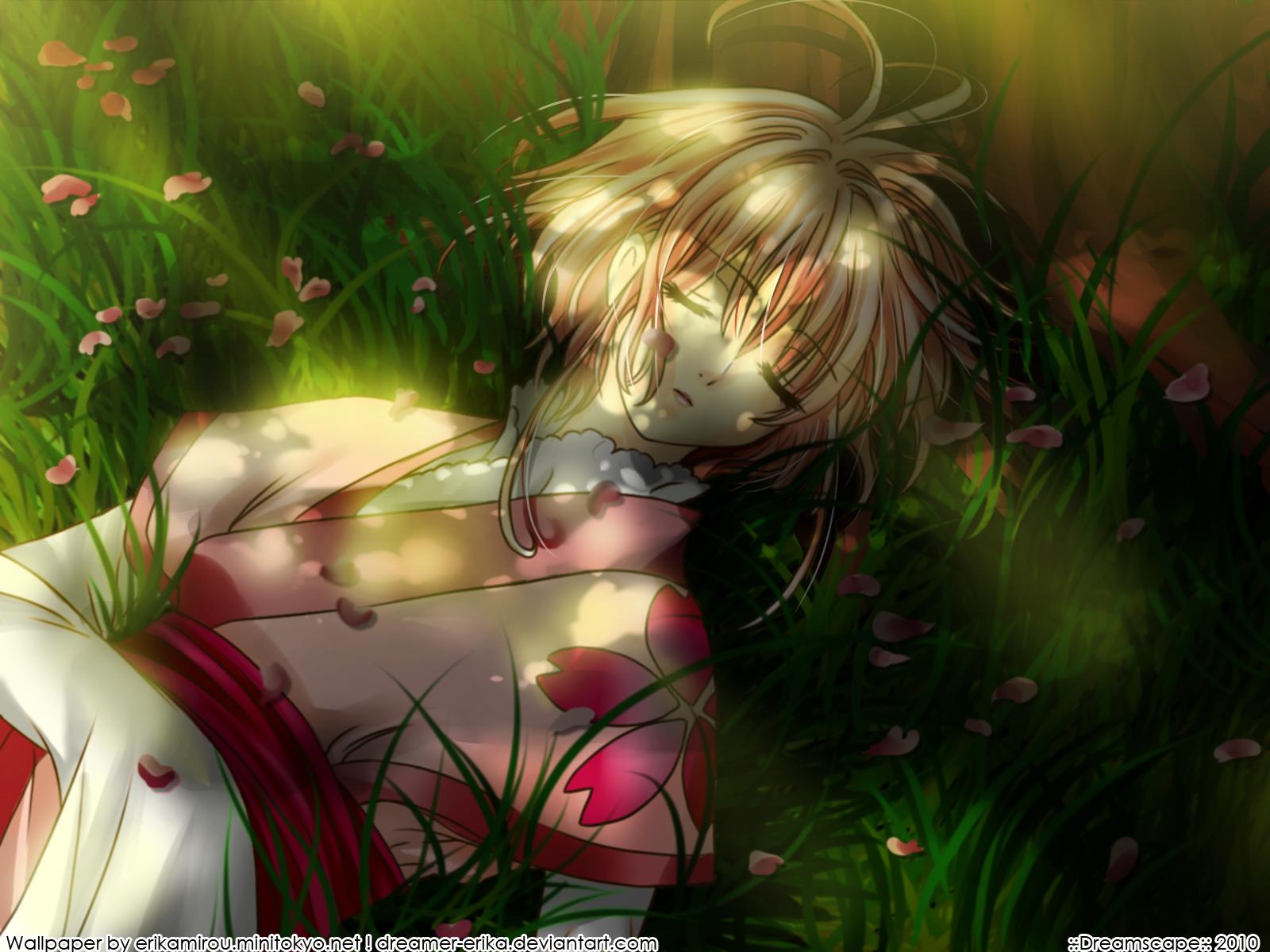 blonde_hair flowers grass japanese_clothes kimono petals sakura_(tsubasa) short_hair sleeping tsubasa_reservoir_chronicle