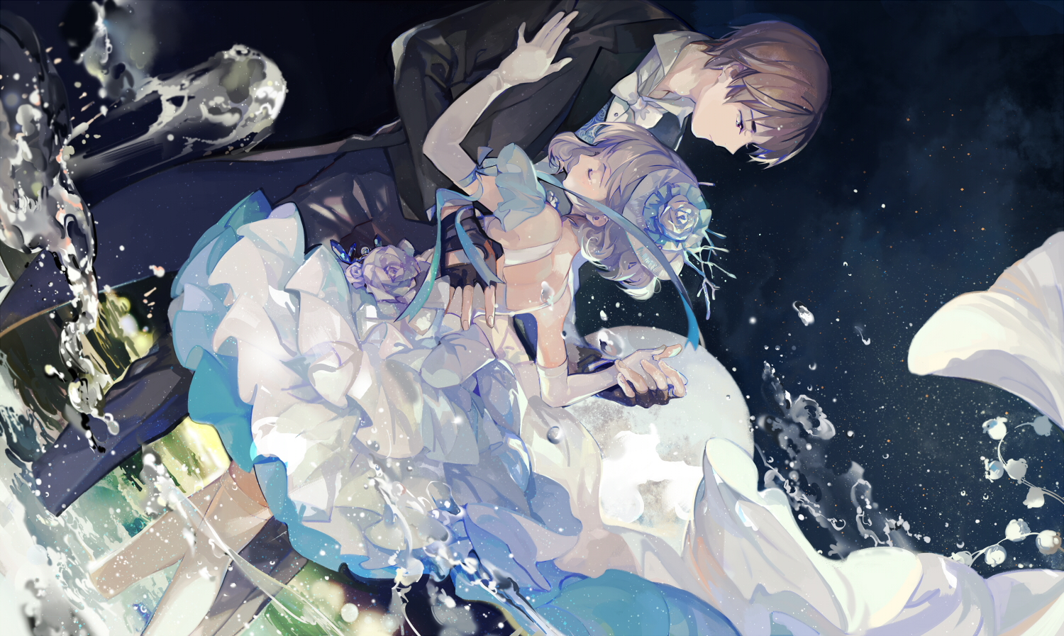 brown_hair dress flowers gray_hair headdress male nineo ribbons short_hair suit thighhighs water