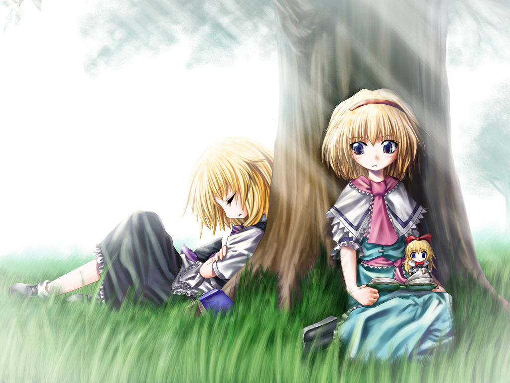 2girls alice_margatroid aozora_market blonde_hair blue_eyes book bow doll dress grass headband kirisame_marisa shanghai_doll short_hair sleeping socks touhou tree