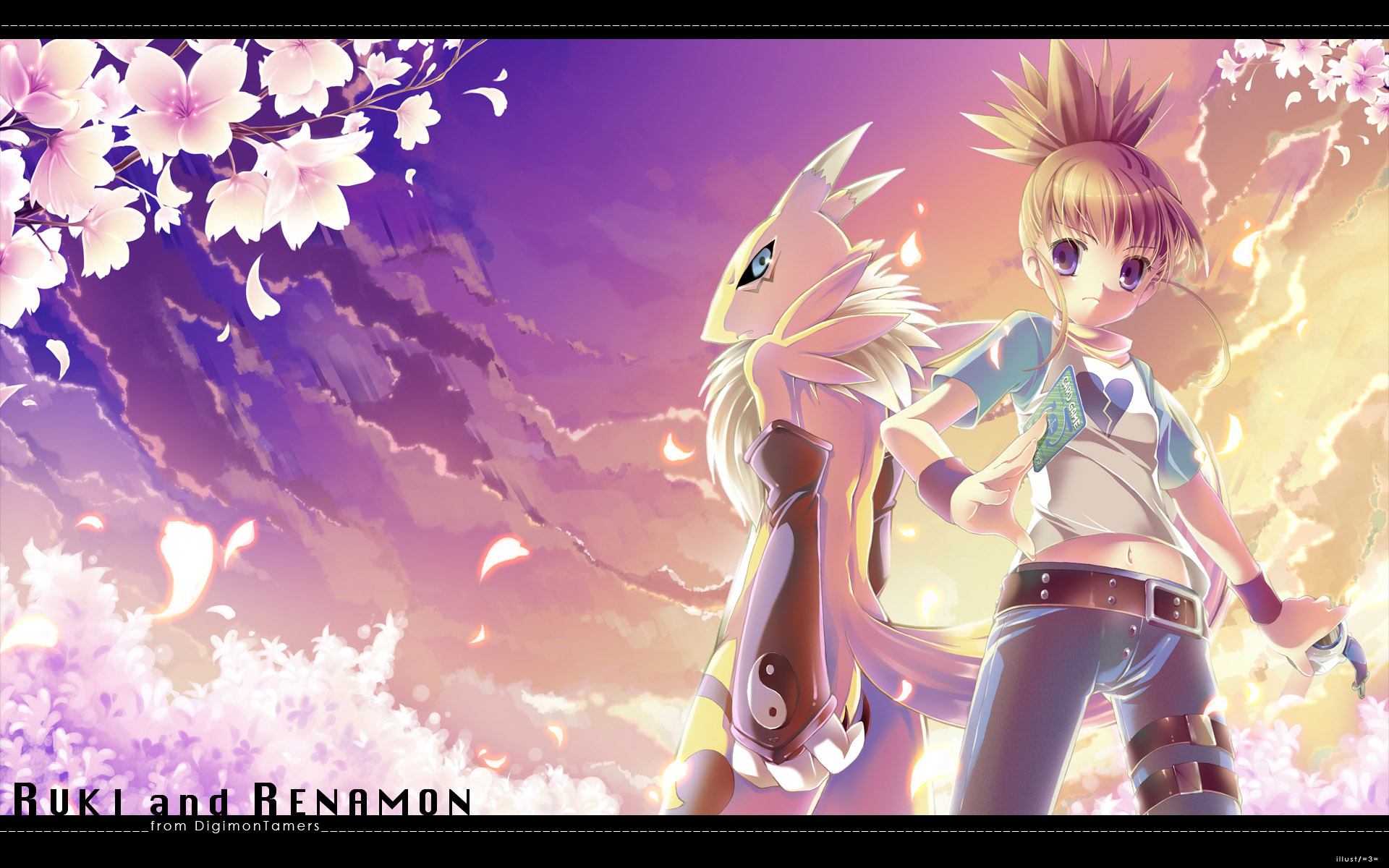 =3= animal_ears clouds digimon digimon_tamers flowers makino_ruki renamon sky