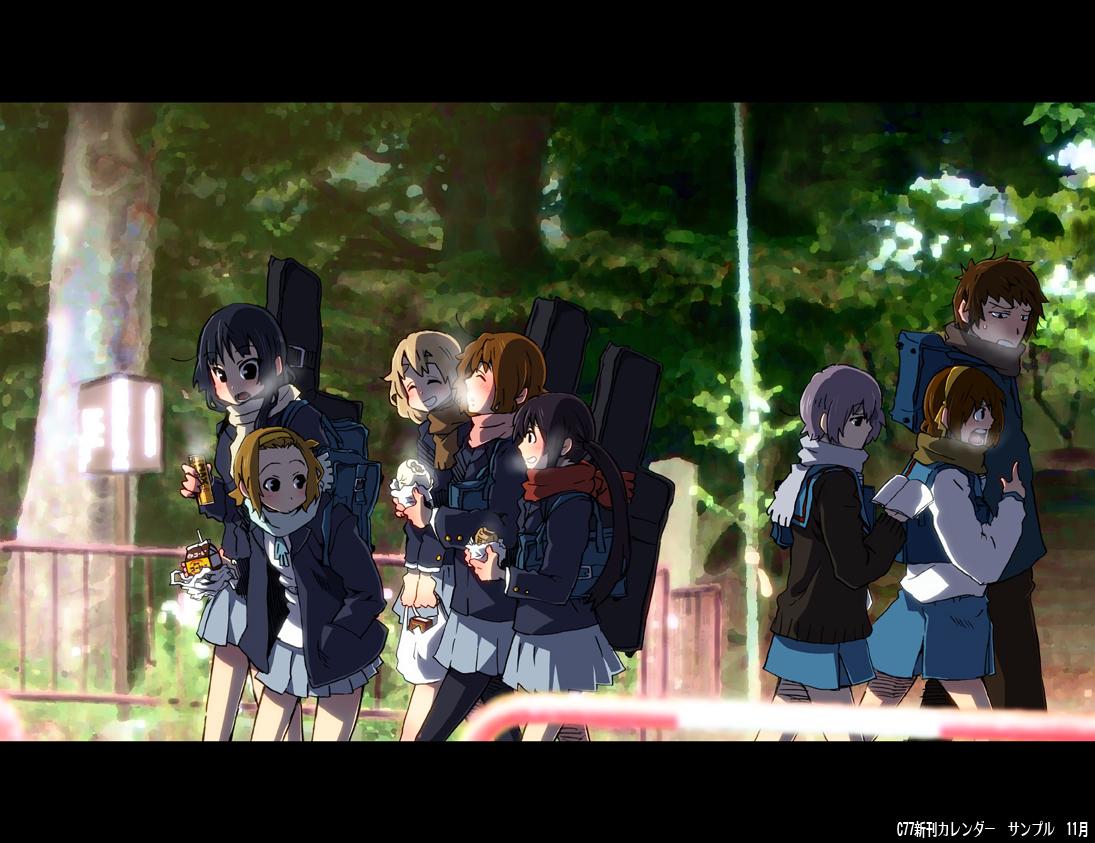 akiyama_mio crossover group hirasawa_yui k-on! kotobuki_tsumugi kyon male nagato_yuki nakano_azusa ringo78 school_uniform suzumiya_haruhi suzumiya_haruhi_no_yuutsu tainaka_ritsu