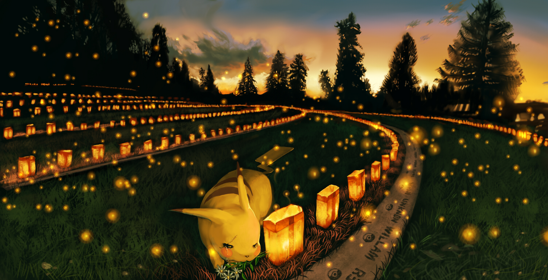 abe_(jump) clouds crying flowers landscape pikachu pokemon scenic sky sunset tears tree