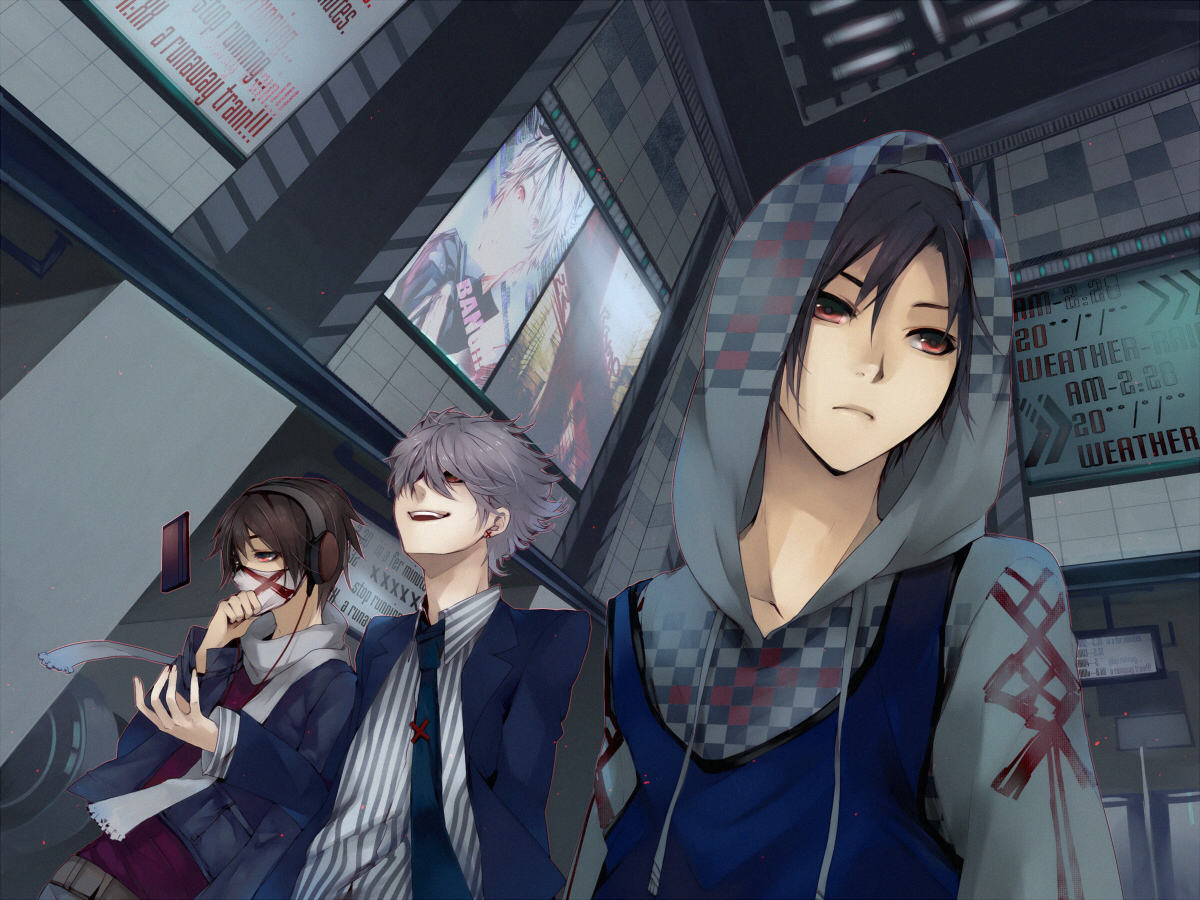 All Male Aoshiki Black Hair Brown Hair Building City Gray Hair Headphones Hoodie Male Mask Night Original Red Eyes Tie Konachan Com Konachan Com Anime Wallpapers