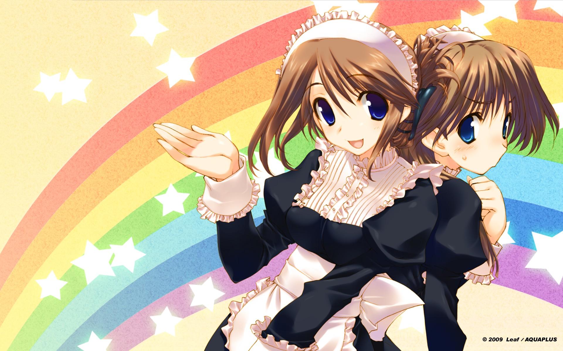2girls amaduyu_tatsuki aquaplus blush komaki_ikuno komaki_manaka leaf maid rainbow to_heart to_heart_2