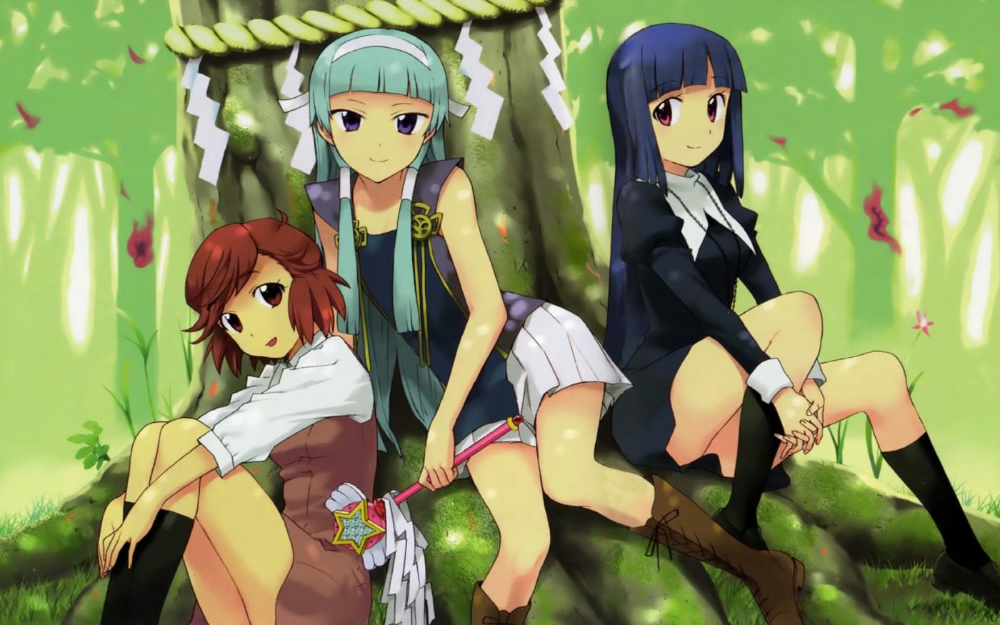 aoba_tsugumi blue_hair kannagi_crazy_shrine_maidens nagi takenashi_eri zange