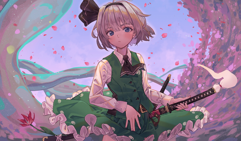blue_eyes flowers gray_hair headband katana konpaku_youmu maachi_(fsam4547) myon petals short_hair skirt sword touhou weapon