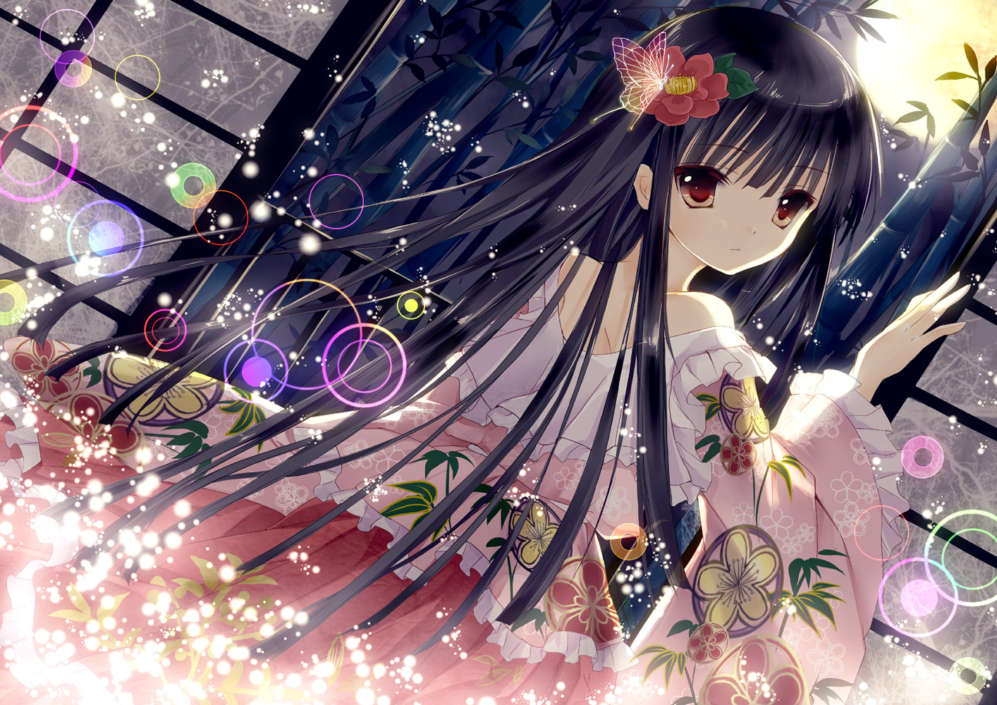 black_hair houraisan_kaguya long_hair moon night red_eyes touhou