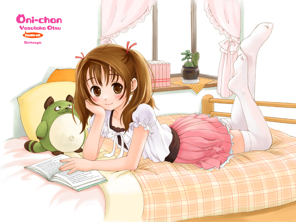 bed blush brown_eyes brown_hair loli thighhighs twintails watermark