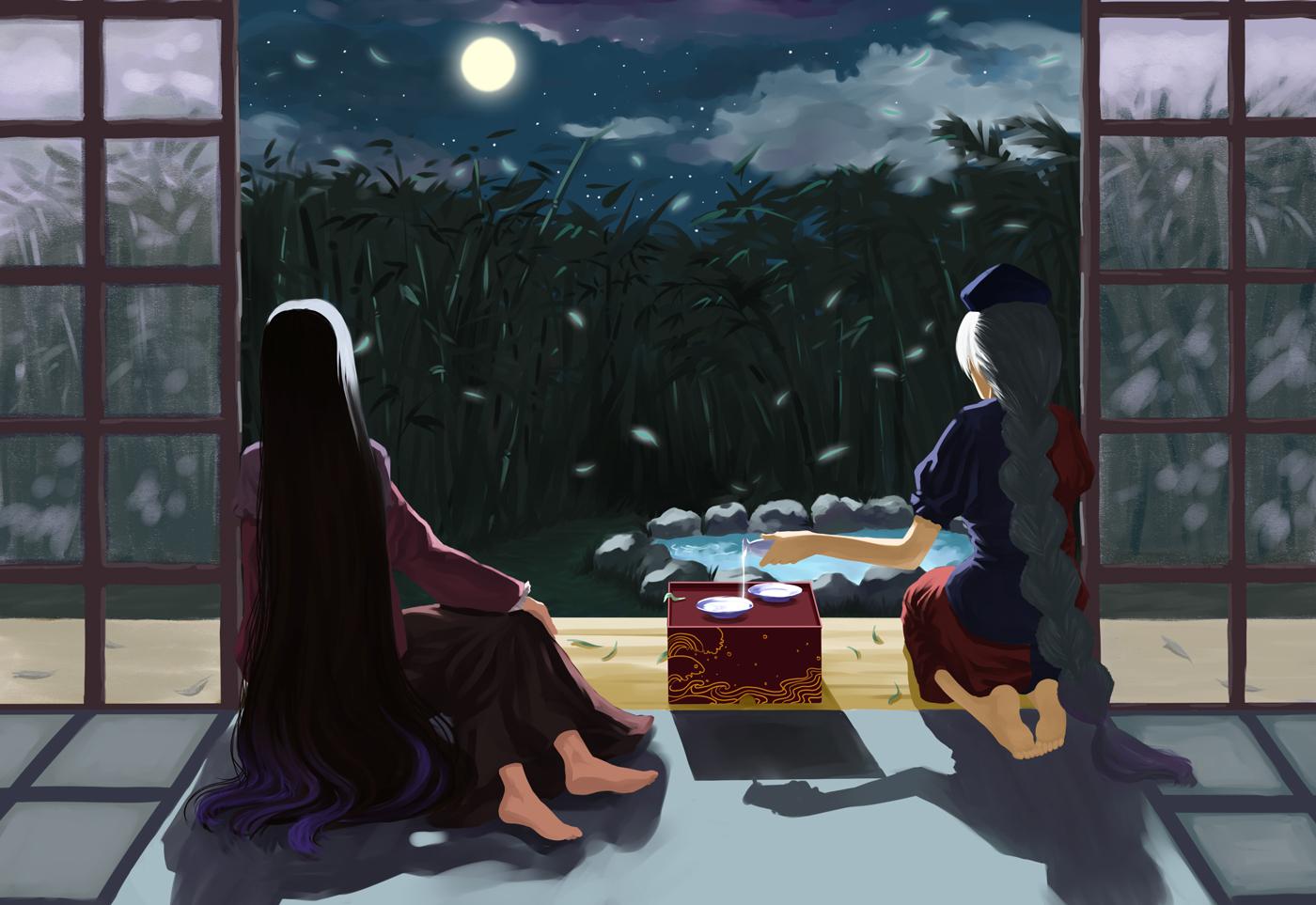 2girls barefoot black_hair braids clouds dress drink gray_hair hat houraisan_kaguya long_hair moon night orangec sake stars touhou water yagokoro_eirin