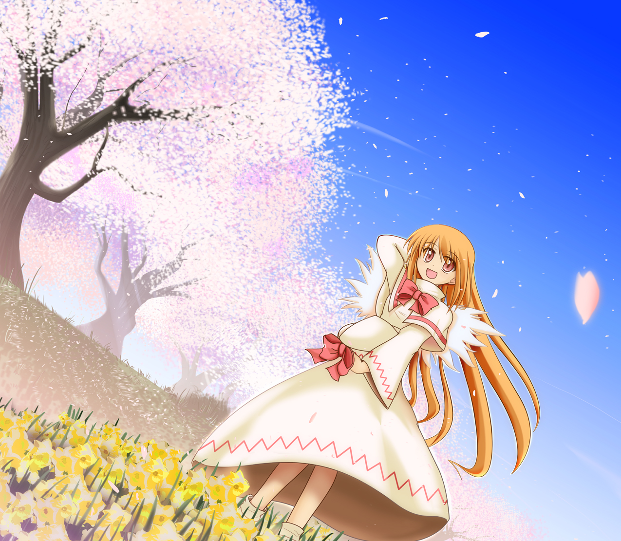 cherry_blossoms dress fairy flowers hat lily_white long_hair orange_hair red_eyes ribbons sky touhou