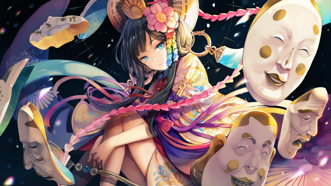 aqua_eyes black_hair bow japanese_clothes long_hair menreiki_(onmyouji) onmyouji petals sibyl