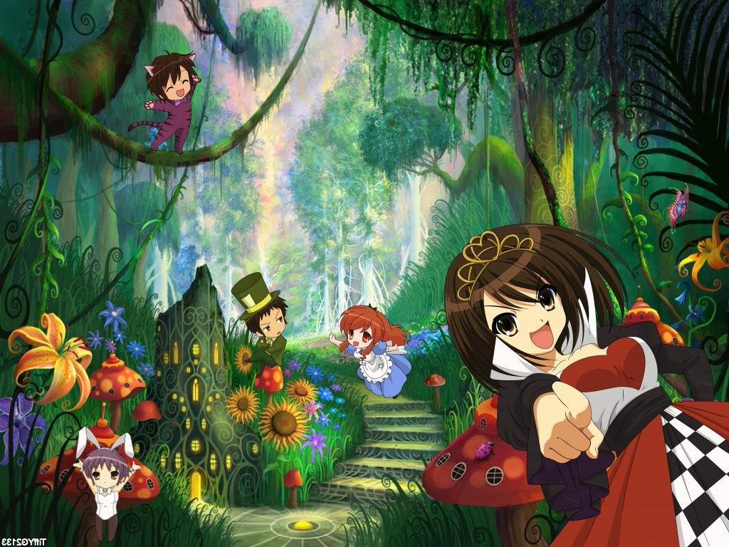 alice_in_wonderland animal_ears asahina_mikuru bunny_ears bunnygirl catgirl chibi cosplay dress flowers forest hat jpeg_artifacts koizumi_itsuki kyon leotard male nagato_yuki parody suzumiya_haruhi suzumiya_haruhi_no_yuutsu tree