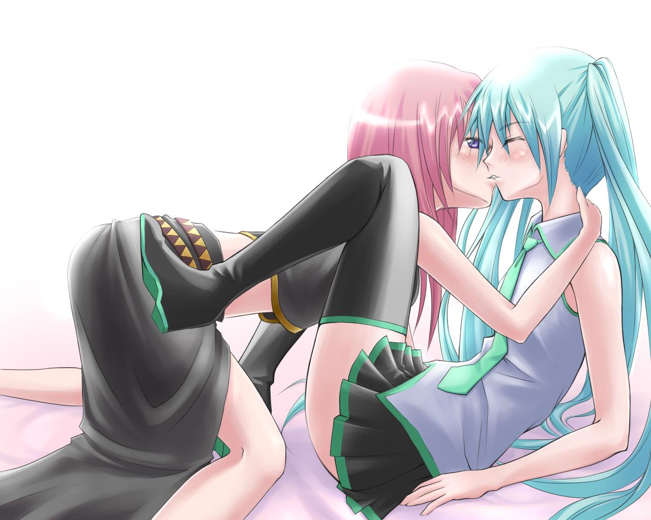 aqua_hair blush boots hatsune_miku kiss komaki_kureha long_hair megurine_luka pink_hair shoujo_ai skirt tie twintails vocaloid