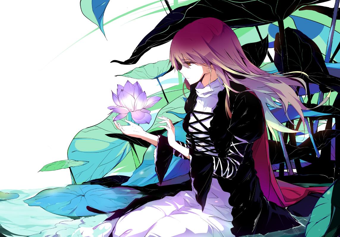 flowers hijiri_byakuren long_hair purple_hair sam_ashton touhou yellow_eyes