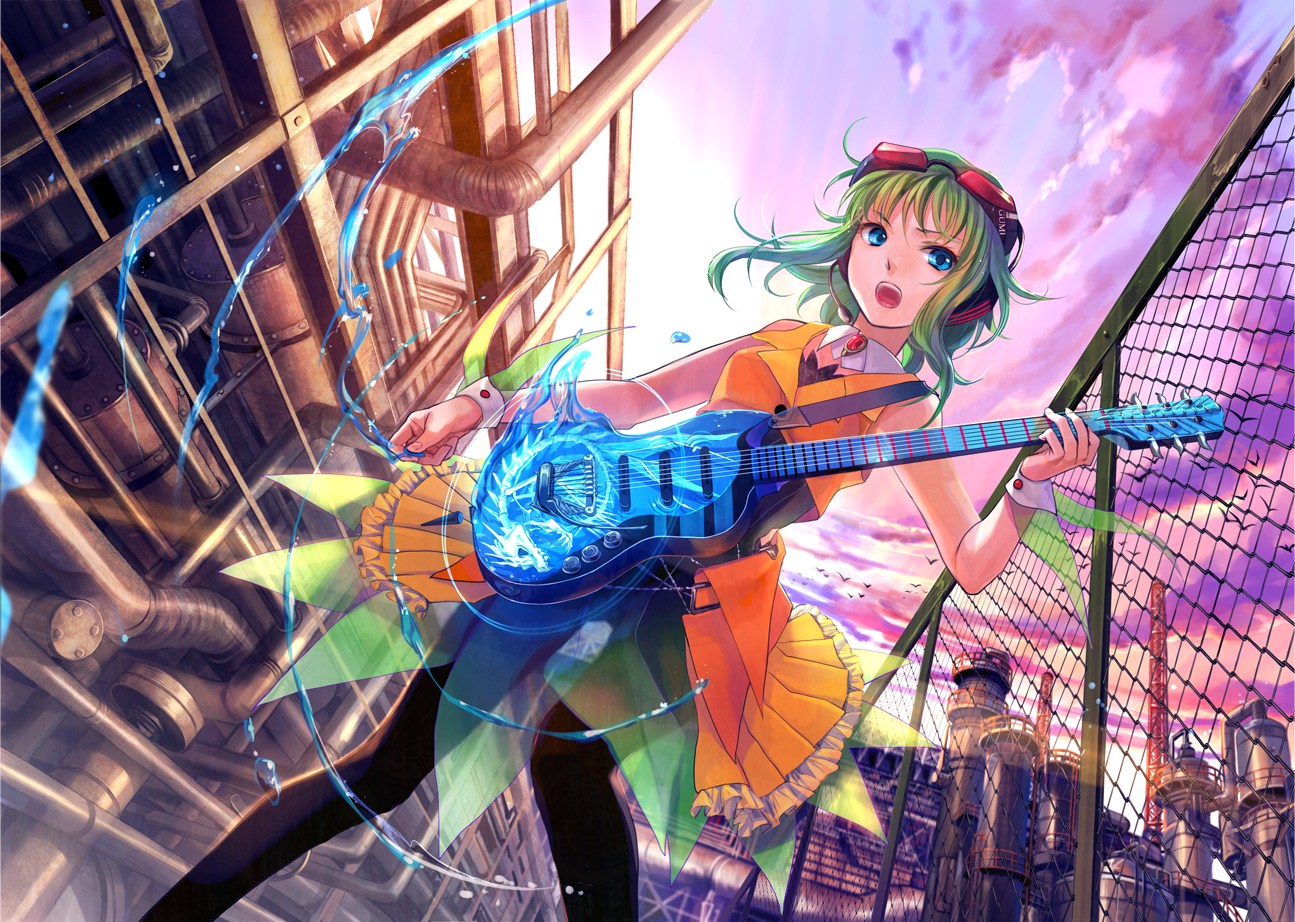 blue_eyes bones city cuffs fuji_choko fujiwara goggles green_hair guitar gumi headphones instrument microphone pantyhose short_hair sky vocaloid water