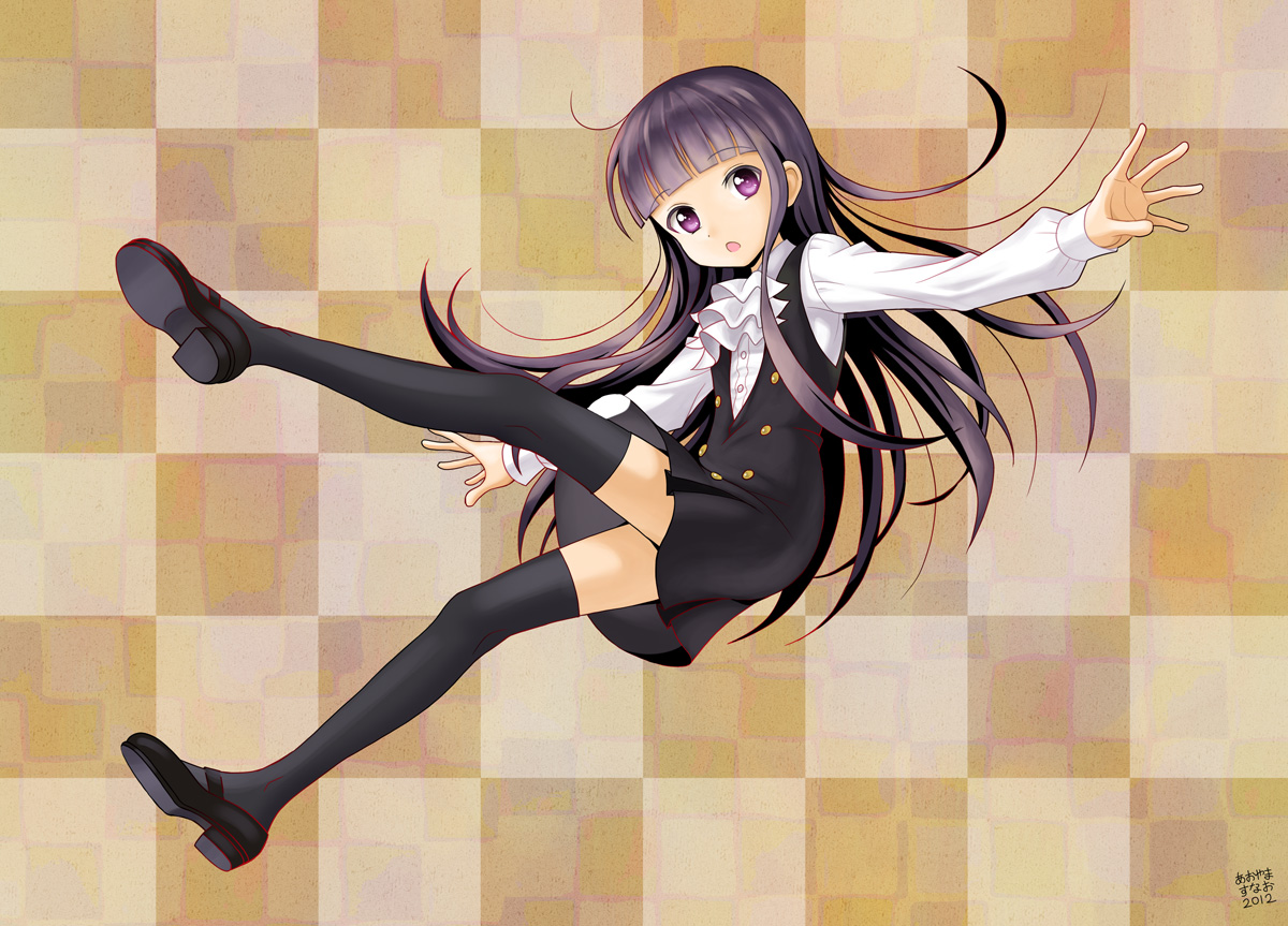 black_hair inu_x_boku_ss long_hair purple_eyes seifuku shirakiin_ririchiyo thighhighs