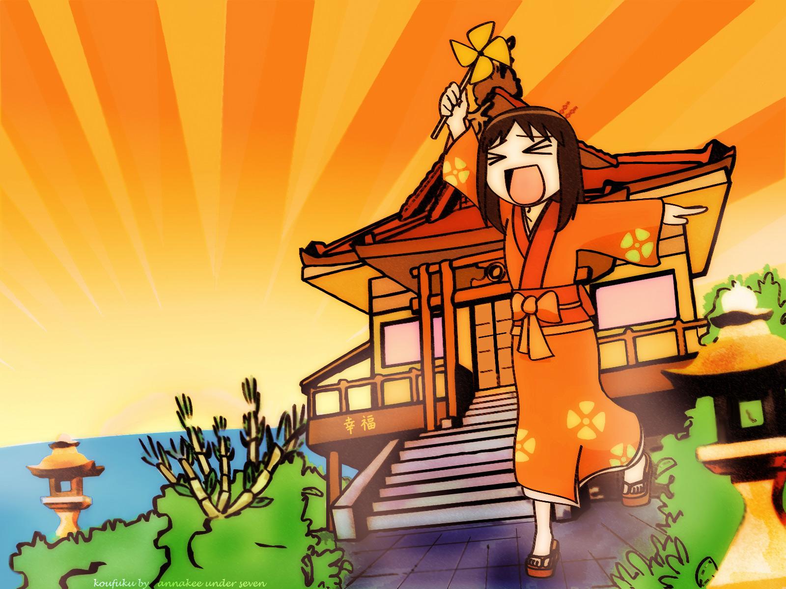 azumanga_daioh bow brown_hair japanese_clothes kasuga_ayumu kimono orange stairs tagme_(artist) translation_request water watermark
