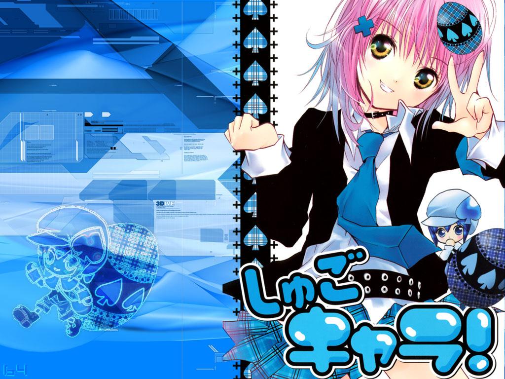 blue hinamori_amu jpeg_artifacts miki_(shugo_chara) peach-pit pink_hair school_uniform short_hair shugo_chara tie yellow_eyes