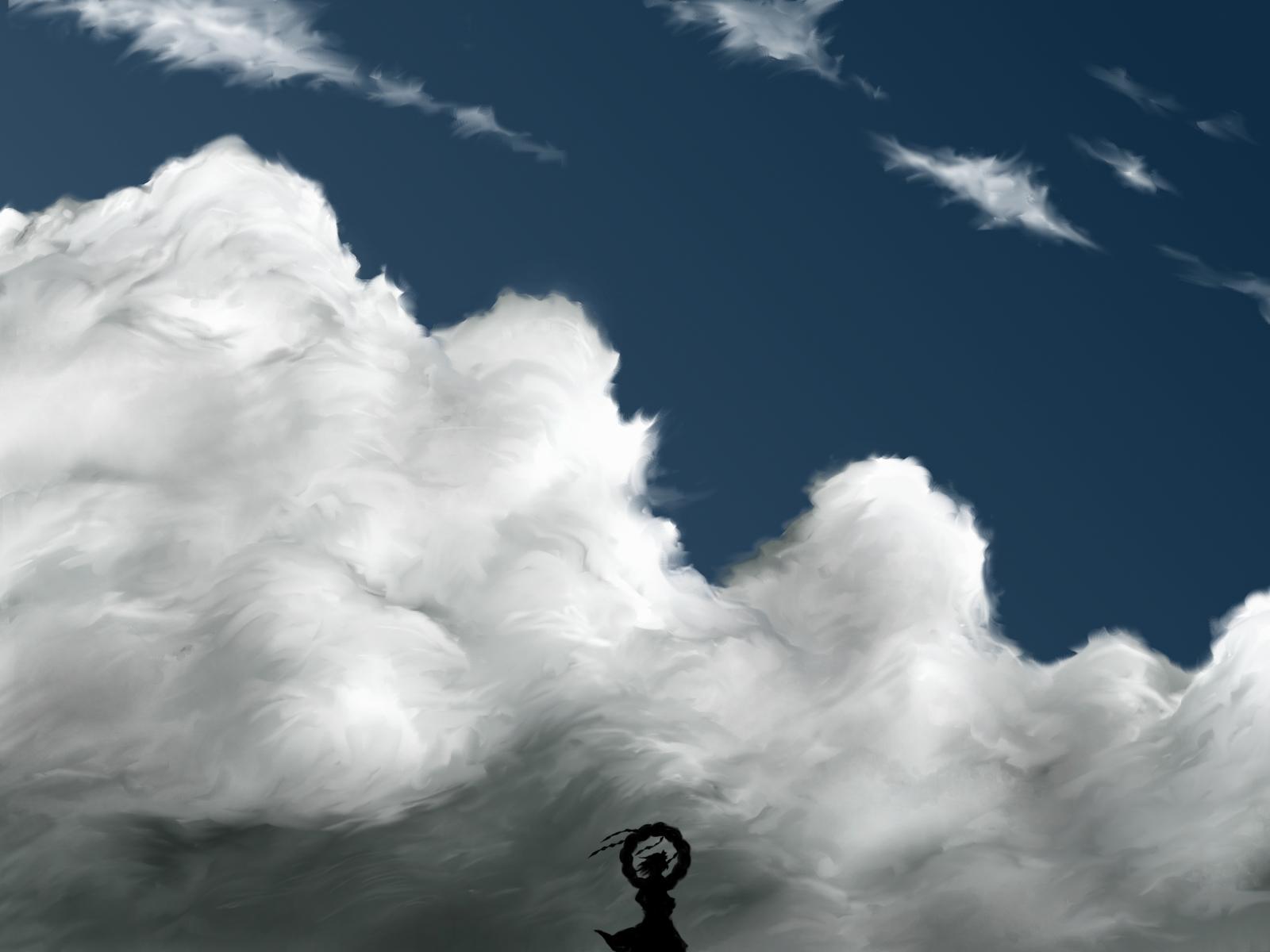 clouds scenic silhouette sky touhou yasaka_kanako