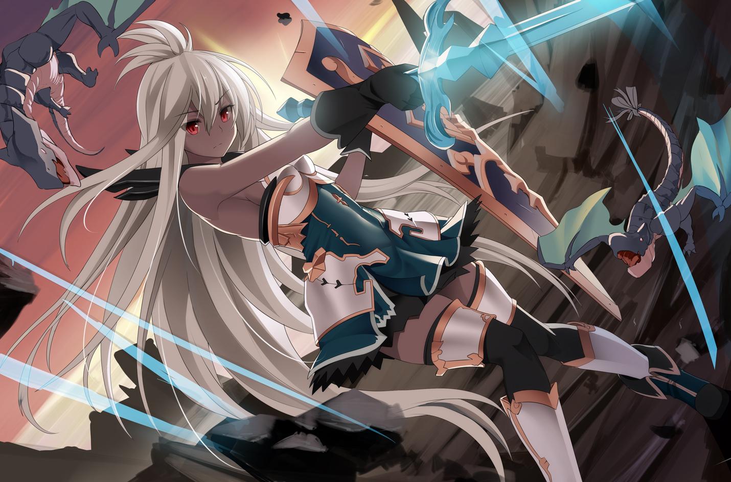 armor blonde_hair boots dark_skin dragon gloves granblue_fantasy hirame_sa long_hair magic red_eyes sideboob sunset sword tagme_(character) thighhighs weapon
