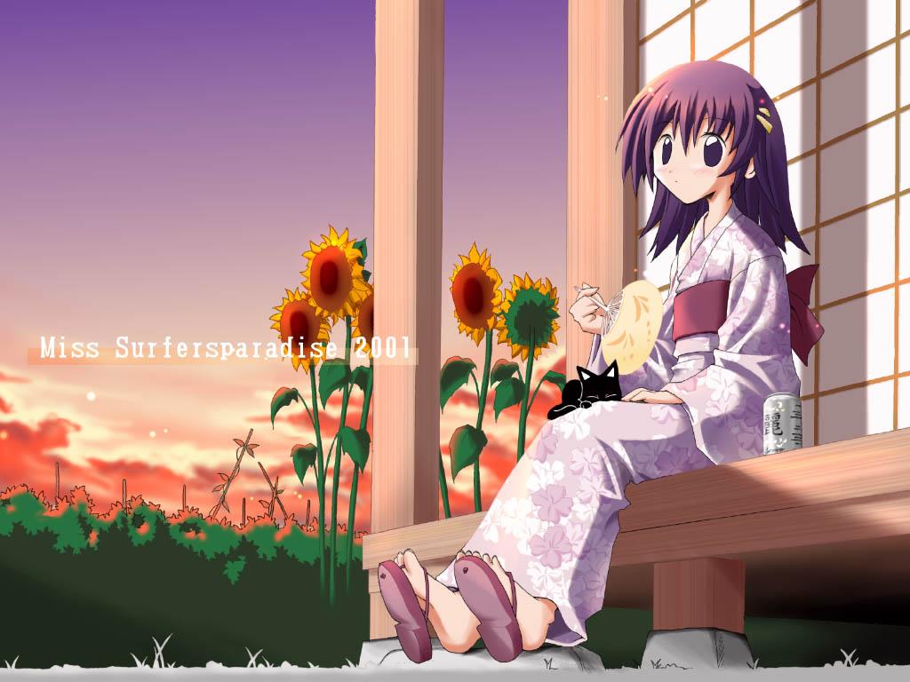 animal cat drink flowers japanese_clothes kimono miss_surfersparadise purple_eyes purple_hair sky sunflower