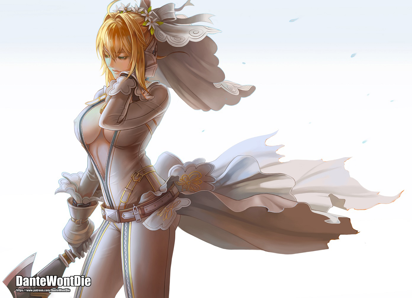 artoria_pendragon_(all) blonde_hair bodysuit breasts dantewontdie erect_nipples fate/grand_order fate_(series) gloves gradient green_eyes headdress nero_claudius_(bride) no_bra open_shirt saber sword watermark weapon white