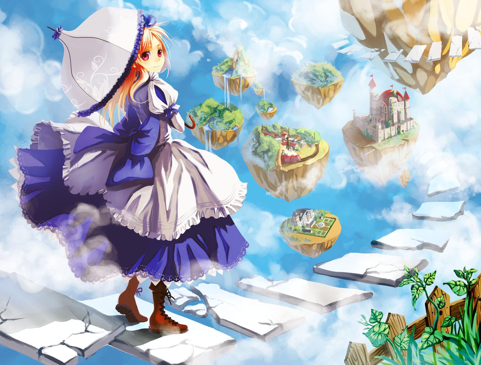 alice_(wonderland) alice_in_wonderland blonde_hair dress newrein red_eyes sky umbrella