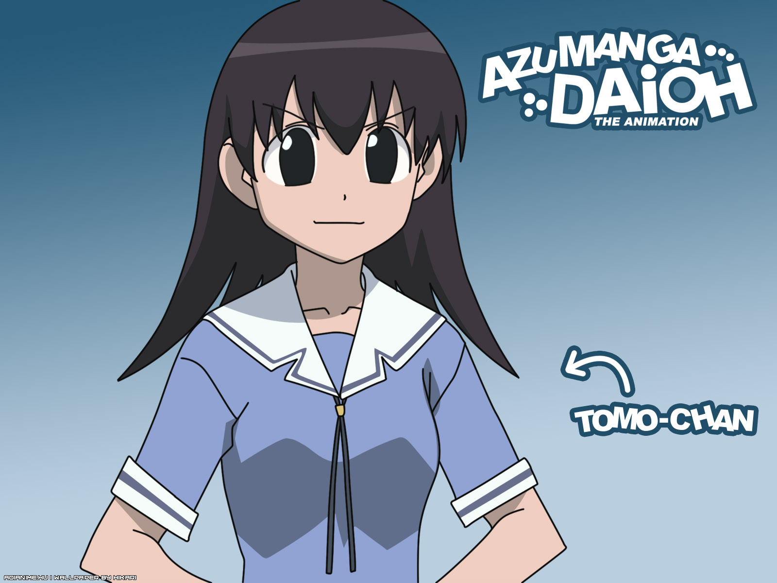 azumanga_daioh black_eyes black_hair blue school_uniform takino_tomo