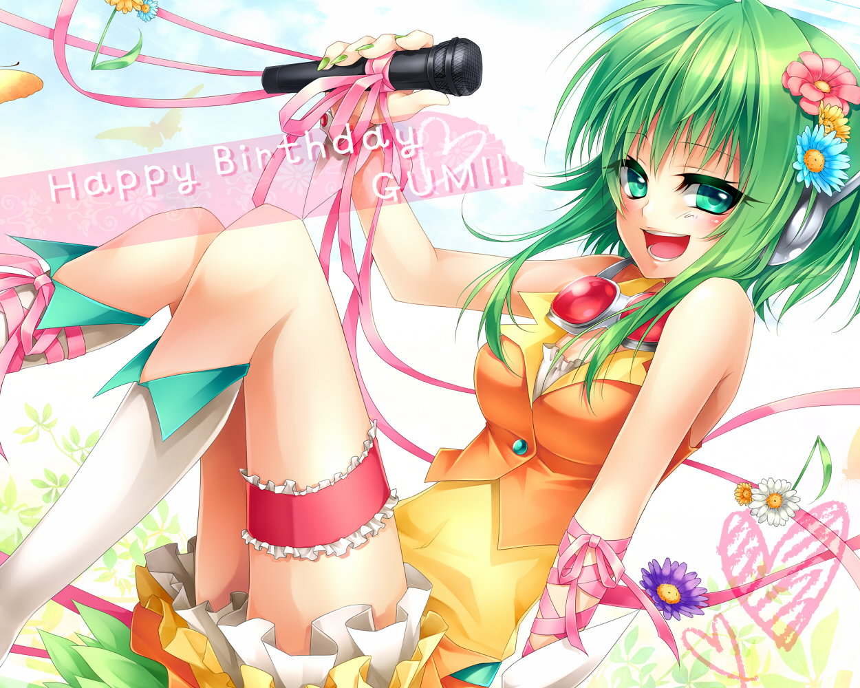 gumi microphone ribbons ueno_tsuki vocaloid
