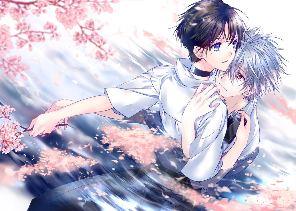 all_male blue_eyes brown_hair cherry_blossoms flowers gray_hair ikari_shinji male nagisa_kaworu neon_genesis_evangelion red_eyes ro-a tree water