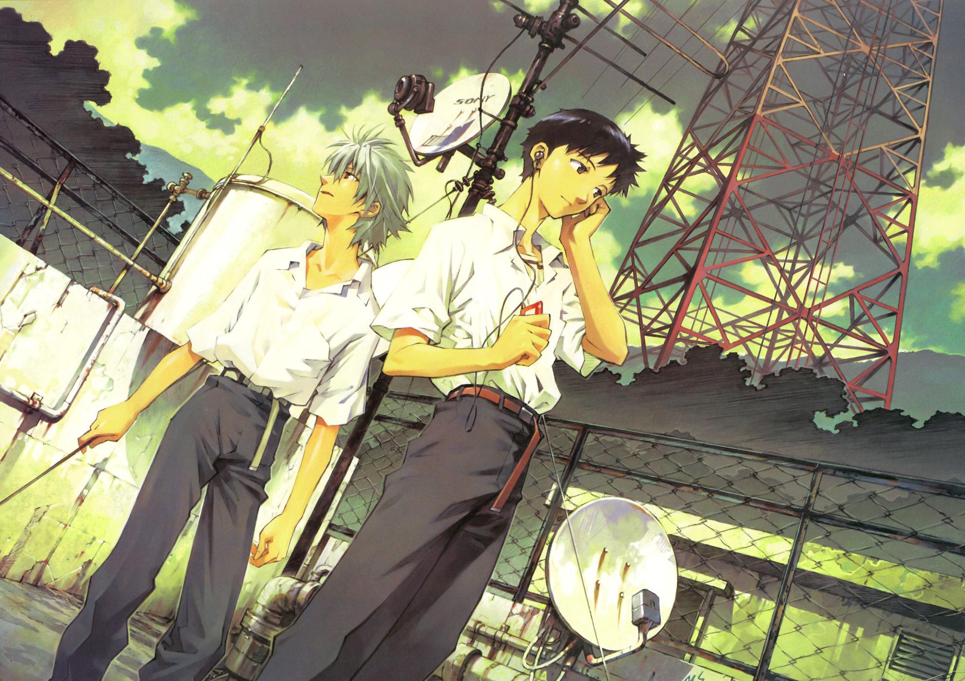 all_male ikari_shinji male nagisa_kaworu neon_genesis_evangelion sadamoto_yoshiyuki
