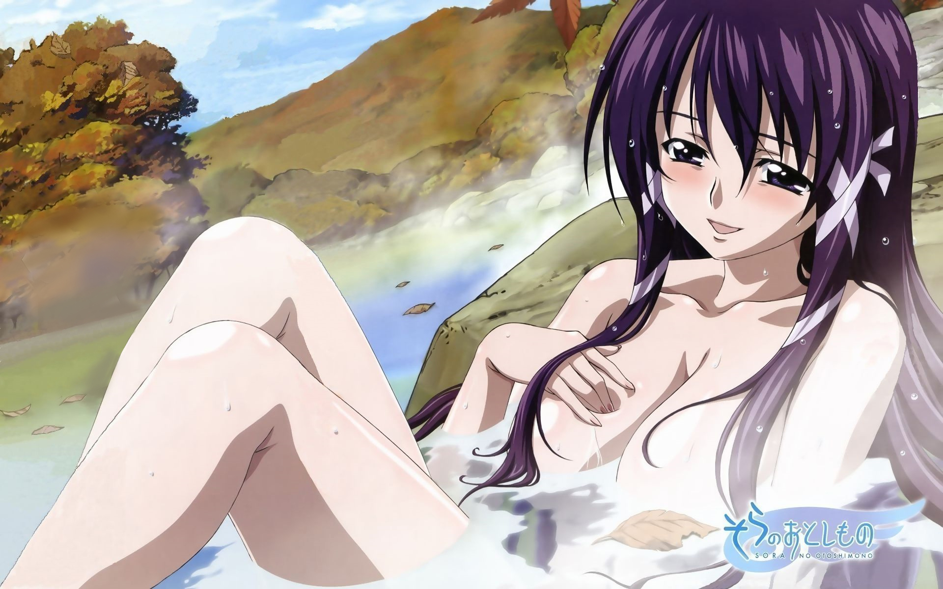 blush breasts leaves long_hair nude onsen purple_eyes purple_hair satsukitane_mikako sora_no_otoshimono tokiwa_kentarou water wet