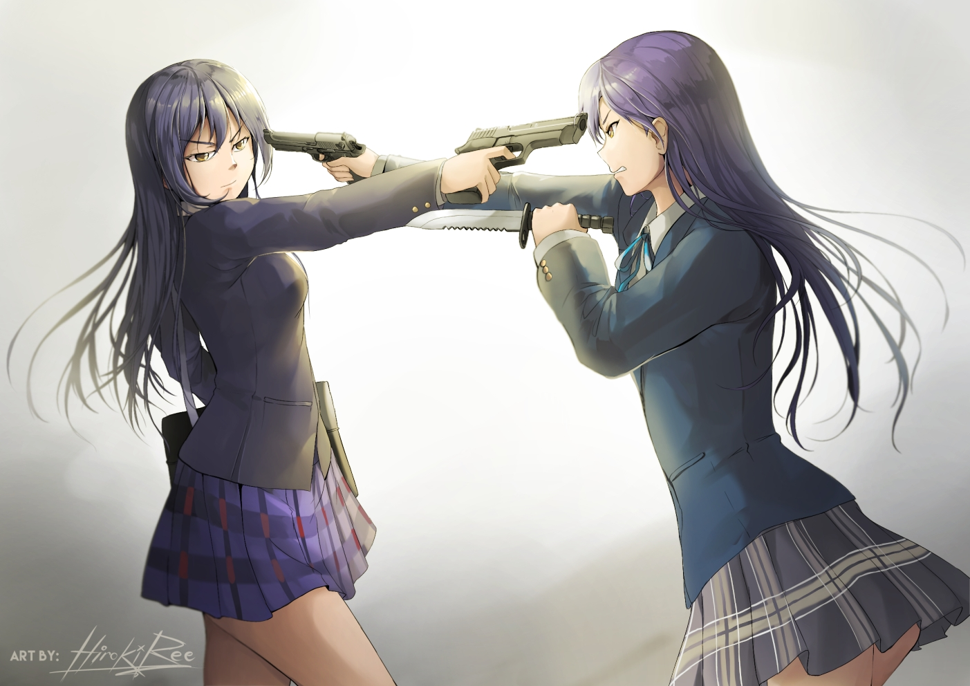 2girls blue_hair crossover gradient gun hiroki_ree idolmaster kisaragi_chihaya knife long_hair love_live!_school_idol_project school_uniform signed skirt sonoda_umi weapon yellow_eyes