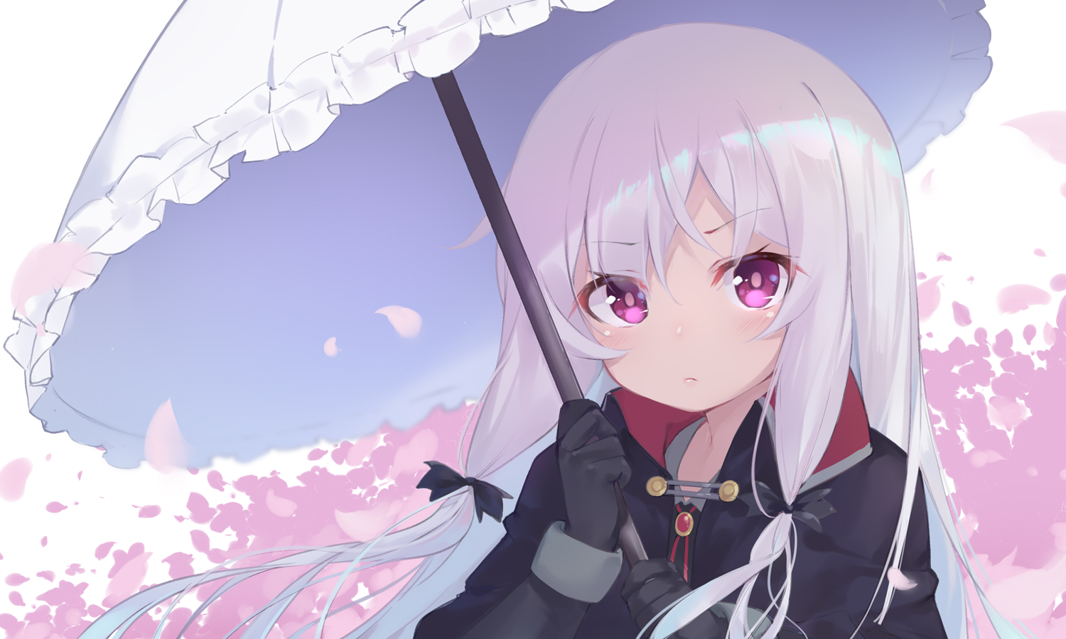 blush cape gloves long_hair petals purple_eyes sophie_twilight tonari_no_kyuuketsuki-san ttnap umbrella vampire white_hair
