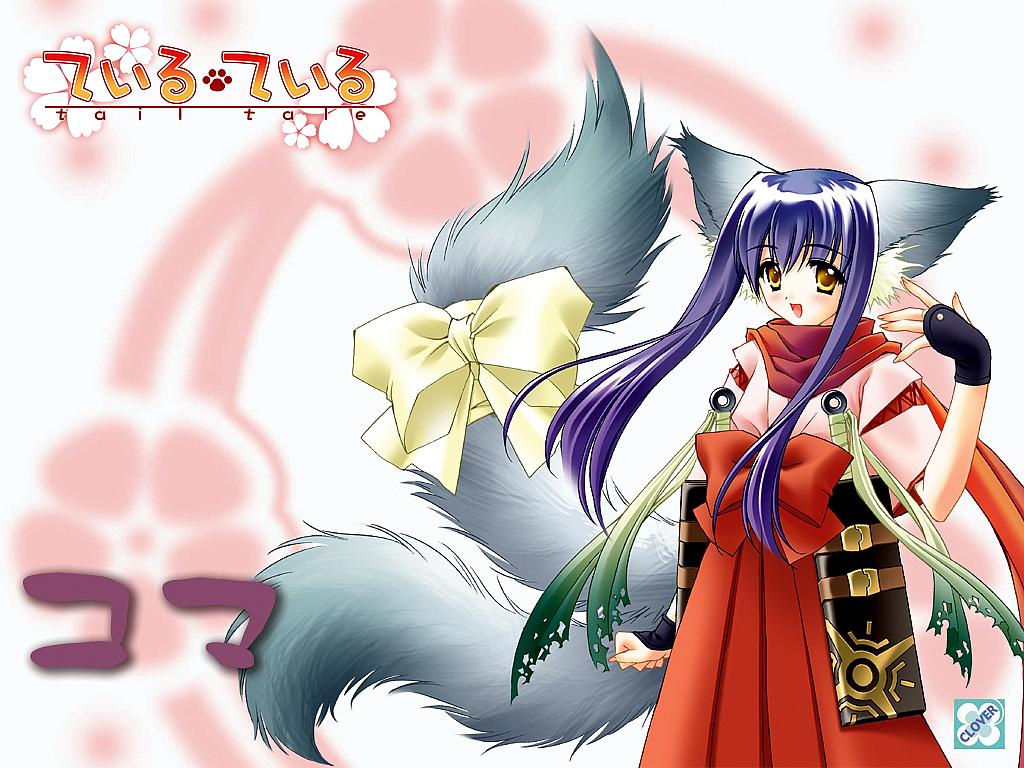animal_ears blush clover_(company) foxgirl gloves japanese_clothes koma_(tail_tale) logo long_hair multiple_tails purple_hair scarf sword tail tail_tale weapon yellow_eyes