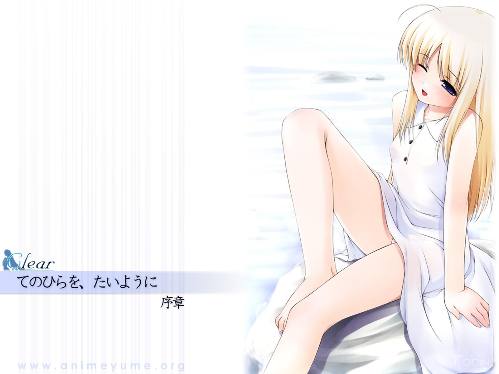 blonde_hair blue_eyes blush dress natunomori_towa ooji te_no_hira_wo_taiyou_ni watermark white wink