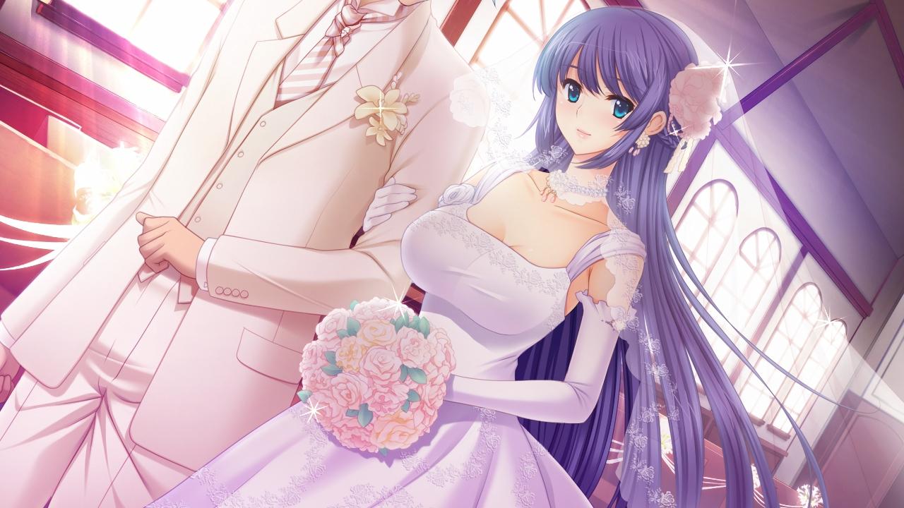 blue_eyes breasts flowers frill gakuen_taima game_cg koizumi_amane long_hair mikoshiba_iori purple_hair wedding_attire